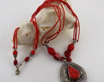 Nipali Jewelry/Bohemian Necklace/Kuchi Afghan Necklace/Pendants/Necklace/Antique/Ethnic Necklace/Beaded/Gypsy Jewelry/SN1422/FREE SHIPPING