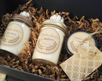 Gift Set - 8oz 4oz Soy Candles,  Scented Candles, Jar Candles, Gifts For Her, Wedding Gifts, Custom Candles, Engagement Gifts