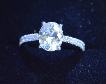 Oval White sapphire .2 carat natural White sapphire engagement ring .OVAL sapphire ring white gold diamond,Ring for her |Sumuduni Gems.
