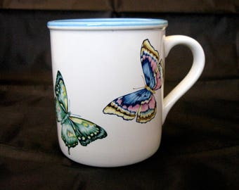 Vintage Butterfly Coffee Mug by Current, Inc. 1986 White Mug with Turquoise Interior