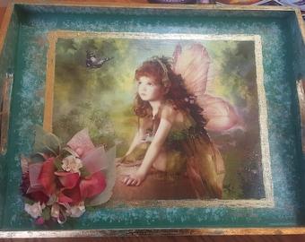 Decorative Fairy Faery OOAK Art Tray