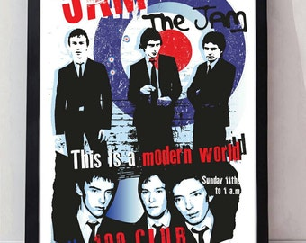 The Jam reimagined drawn unframed gig poster. Specially created.