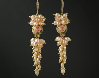 Cream Freshwater Pearl Earrings with Gorgeous Japanese Tensha Beads Cubic Zirconia Gold Plated Ear Hooks