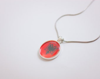 Albania,Albanian flag necklace, Albanian necklace,Albanian pendant,Albanian jewelry, flag necklace, silver necklace, flag jewelry, gift