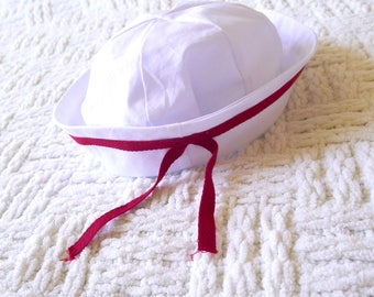 Baby sailor hat - Baby sailor cap - Toddler sailor hat - Nautical baby hat - First birthday - Photoshoot prop - Retro - Vintage style