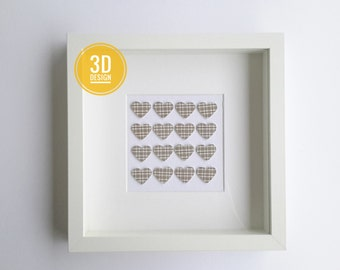 Hearts.3d love hearts shadow box frame, wall art decor, love hearts, wedding, couples gift, anniversary gift, love, paper wall art, 23x23 cm