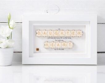 Handmade Daughter Jigsaw Art . Birthday Gift.  Daughter Gift.  White art.  Wooden art.  Mother & Daughter Gifts for her
