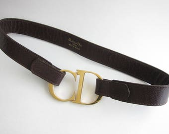 Belt Christian Dior brown leather.