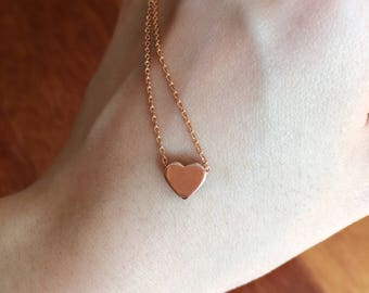 Dainty rose gold heart necklace//Minimalist//Simple//Dainty//Everyday//RG004