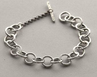 "Chain silver Bangle Bracelet-maglia Rolo-""free shipping"""