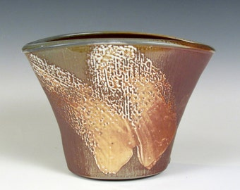 "Woodfired, Stoneware, small vase 8"" x 6"" x 5.5"""