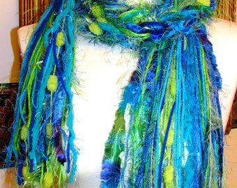"Fringe scarf, knotted fringe scarf, ""Parrot"", turquoise, blue, lime, aqua, womens accessories, art scarf, women's gifts, wearable art"