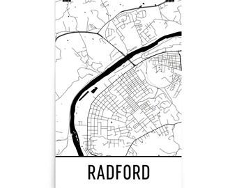Radford Map, Radford Art, Radford Print, Radford VA Art Poster, Radford Wall Art, Radford Gift, Map of Radford, Radford Poster, Decor