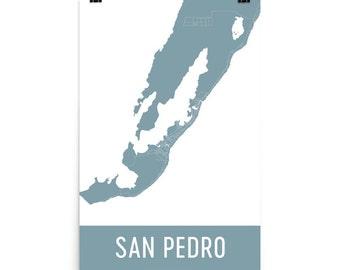 San Pedro Map, San Pedro Art, San Pedro Print, San Pedro Belize Poster, San Pedro Wall Art, San Pedro Gift, Map of San Pedro, Poster, Art