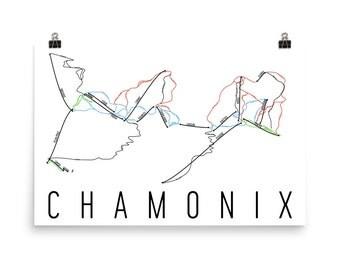 Chamonix Ski Map Art, Chamonix, France, Chamonix Trail Map, Chamonix Ski Resort Print, French Art, France Map, France Poster, French Gifts