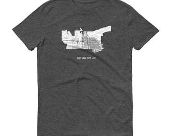 Salt Lake City Shirt, Salt Lake City UT, Salt Lake City TShirt, Salt Lake City Gift, Salt Lake City Map, SLC Tee, Utah Shirt, Utah Map, Art