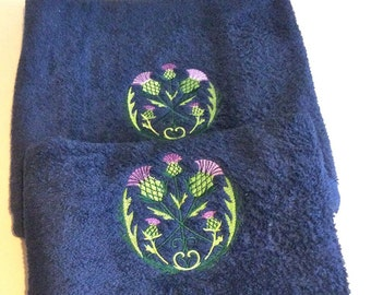 Embroidered Scottish Thistle Hand and Bath Towels - Beautiful thistles set onto luxury navy blue towels, unique gift