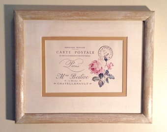 French Postcard Art / Vintage Rose Framed Print