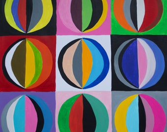 Circles Acrylic Painting on Heavy Weight Paper