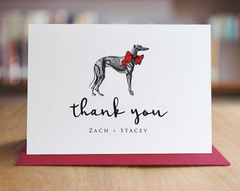 Greyhound Note Cards Set /  Personalized Thank You Note Cards / Modern Stationery / Set of 10 Folded Shimmer Note Cards - T303