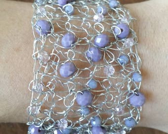 Knitted wire bracelet is handmade. #Bracelet purple beads