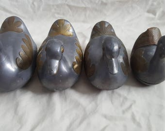 Vintage Four Pewter and Brass Duck Shaped Trinkets