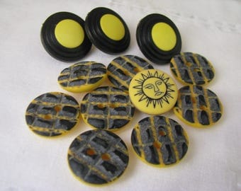 12 Vintage Yellow Plastic Buttons