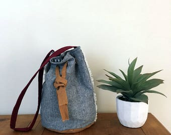 Bucket Bag / Grey Bag / Bucket Purse / Cloth Purse / Handmade Bag / Quilted Bag / Gifts for Her / Mothers Day Gift
