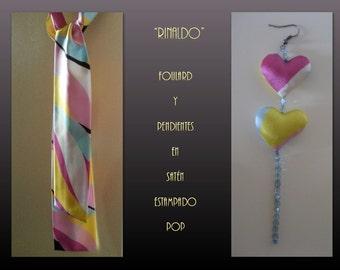Rinaldo. Scarf and earrings printed pop.