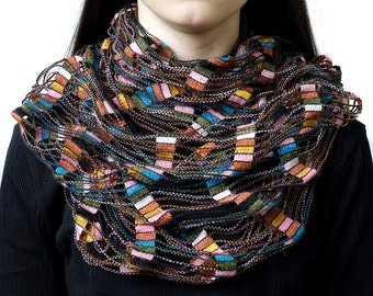 Infinity scarf, wrap scarf, snood, loop scarf, multi coloured scarf, women's tube scarf, ladies scarf, modern scarf,