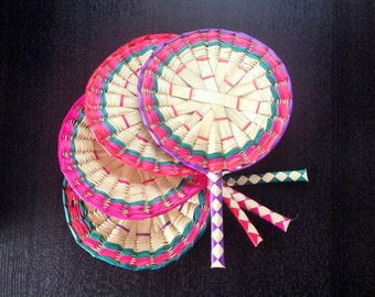 """Set of 10 Mexican Handmade Woven Palm Fan Wedding Gifts Favors Mexican Party Favors 14"""" inches"""