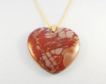 Red heart stone necklace / Picasso jasper stone heart pendant / gold chain
