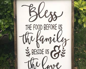 Sale sale sale!! Bless the food before, the family beside us, the love between us/ rustic wood sign