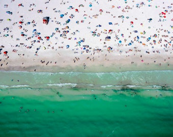 All of the People // Aerial Beach Photography // 2 Print Sizes available