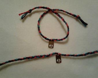 Jute Cord Braided Friendship Bracelet with Dangle (set of 2)