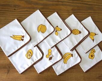 Vintage Napkins, Cloth Napkins, Mid Century Napkins, Monochromatic Fruit Pattern, White/Yellow/Brown, Farmhouse Linens, Set of Nine (9)