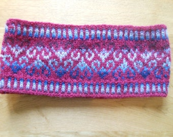 Red Fair Isle headband