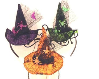 Ladies~Girls Fun Witch Hat Headband, 3 Colors,Halloween, Fall, Partywear, Wicked Witch Hat Headband,Witch Costume,Witch Headband, Photo Prop