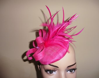 Fushia Pink Fascinator.Fushia Pink Wedding Hat.Fushia Pink Occasion Hat.Fushia Pink Ascot Race Hat.Fushia Pink Pillbox Hat.
