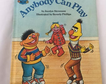 "1980 Vintage Sesame Street book ""Anybody Can Play"" Children's Book"