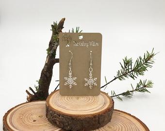 Laser Cut Snowflake Earrings- Christmas Earrings