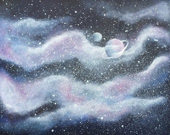 Original Hand Painted Bespoke Galaxy/Space Canvas Painting -Space Dust & Planets