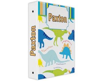 Personalized binder, dinosaur print 3 ring binder, back to school supplies, school binder, binder organizer, little boy gifts