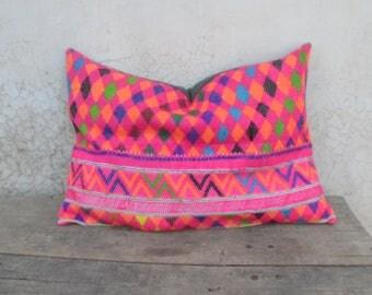 Bohemian cushion pillow cover, pink, hmong, banjara, indian vintage, ethnic, kuchi, boho living,
