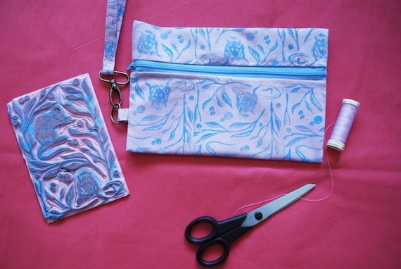 Mousey Floral Block Printed Wristlet // Hand Dyed Fabric // Lavender & Blue