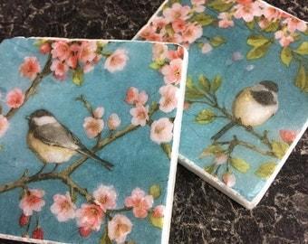 Blossom & Birds! Set of 2 Marble Coasters