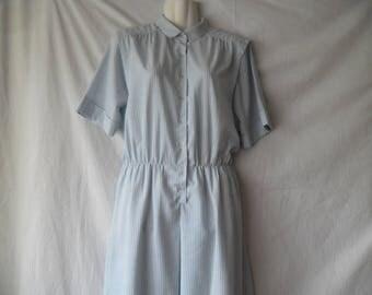 Fink Modell Vintage 70s Light Blue White Stripes Summer Dress, Short Sleeves Elastic Waist Buttons Front Dress