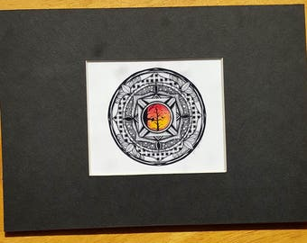 MADE TO ORDER - Black Matted - Zentangle Art Print from Original Drawing (pictured is an 5x7, Black)
