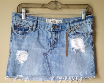 Upcycled Denim - Jean Mini Skirt - Size 3