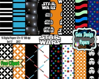 Star Warts Digital Paper, Digital Backgrounds, green, white, red, for party printables, invitations, stickers